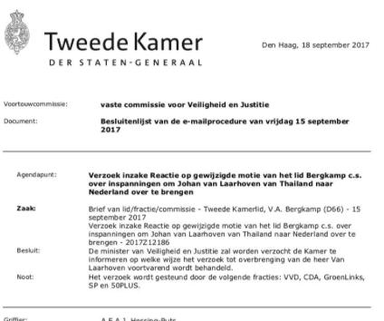 Kamerlid volhardt in zaak van Laarhoven