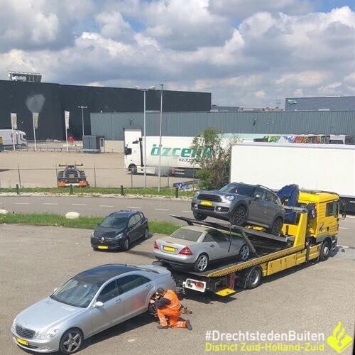 Auto's meegenomen bij tuinbedrijf