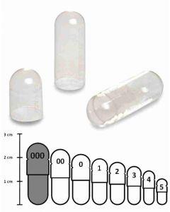 Lege capsules gelatine transparant maat 000