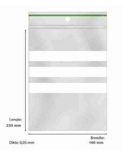 Sluitzakjes 160 x 230 mm met schrijfvlak