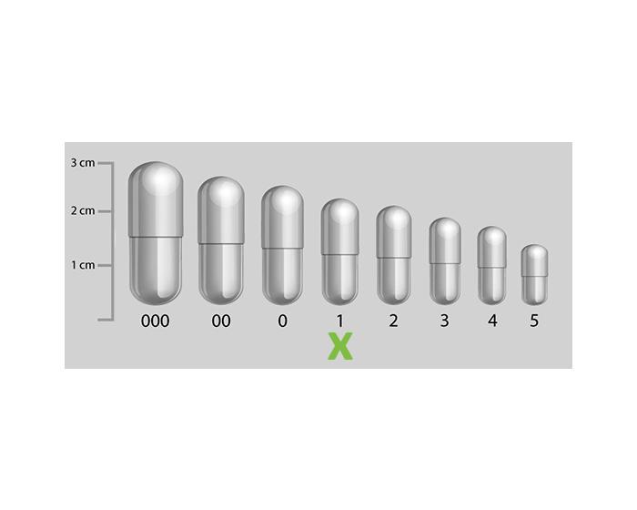 Gelatine capsules transparant maat 1